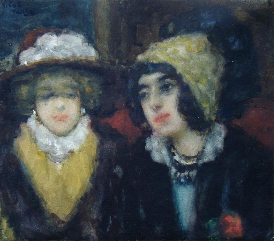 Alakok a Taverne du Pantheonból, 1911 (akvarell, papír; 19,7 x 22,5 cm, j.b.f.: Vida Paris 911. Magyar Nemzeti Galéria)
